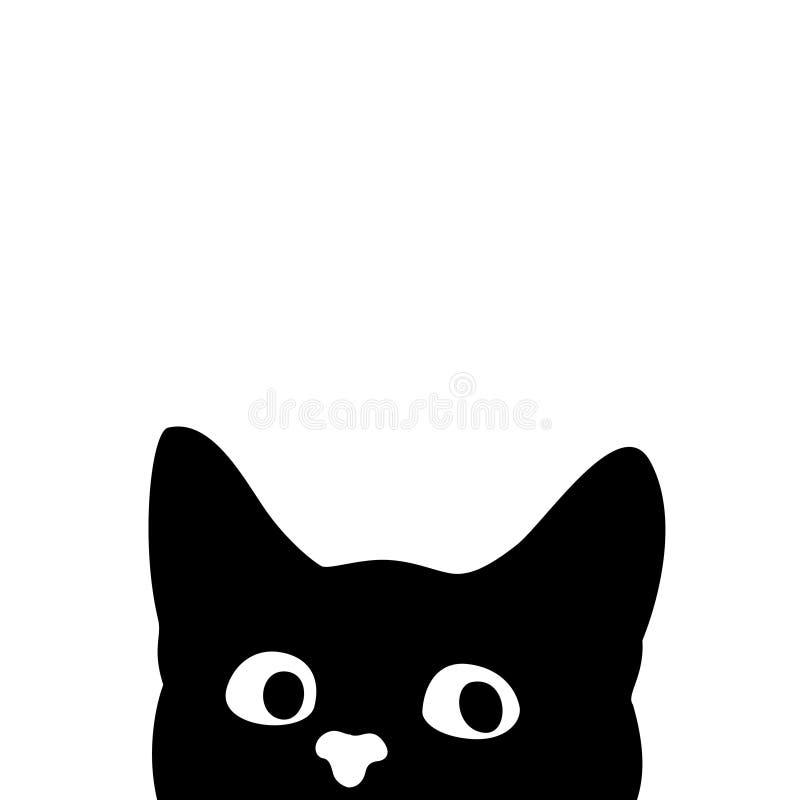 Gato curioso Etiqueta em um carro ou em um refrigerador ilustração stock