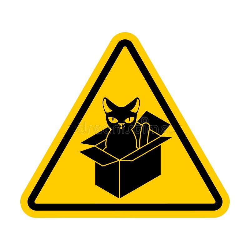 Gato da atenção na caixa Animal de estimação home proibido na caixa Sinal do cuidado ilustração do vetor