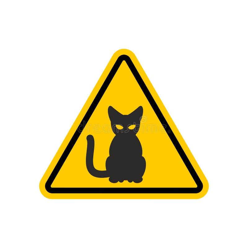 Gato da atenção Sinal de estrada amarelo do perigo Cuidado do animal de estimação ilustração stock