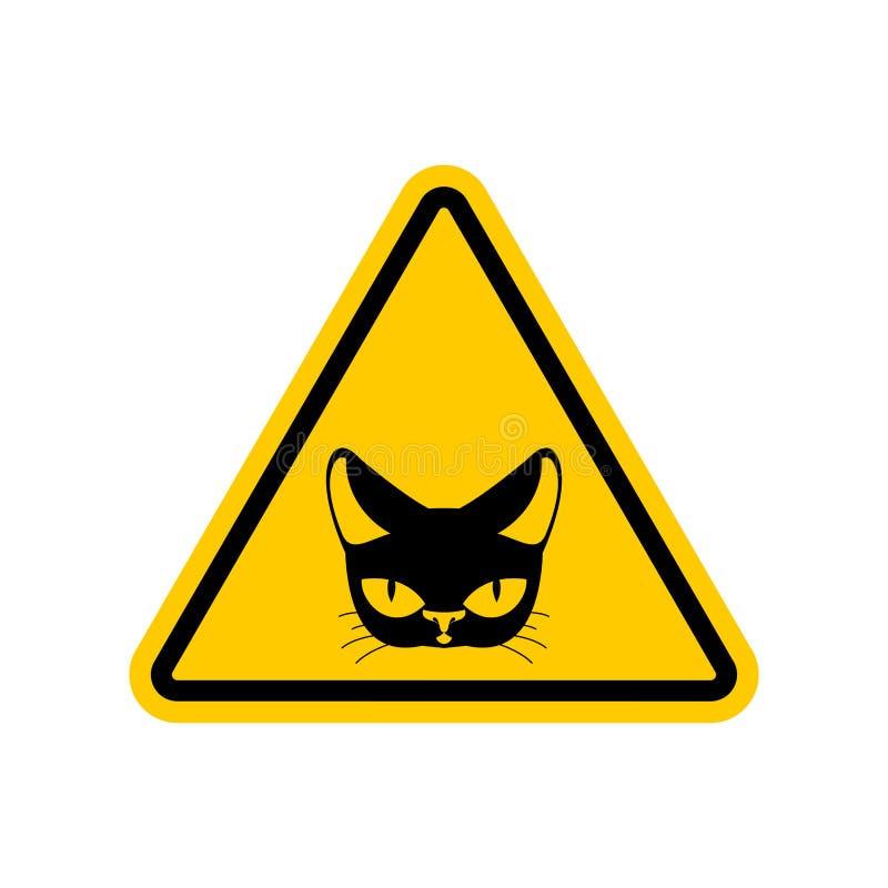 Gato da atenção Sinal de estrada amarelo do perigo Cuidado do animal de estimação ilustração royalty free