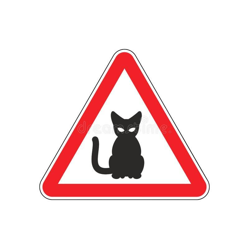 Gato da atenção Sinal de estrada vermelho do perigo Cuidado do animal de estimação ilustração royalty free