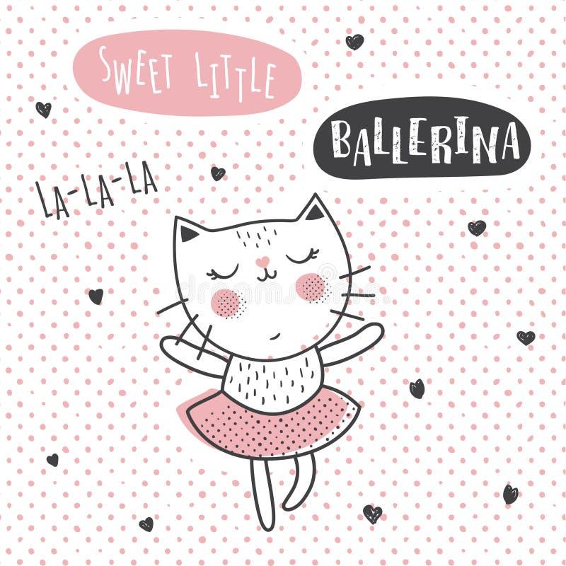 Gato da bailarina ilustração stock