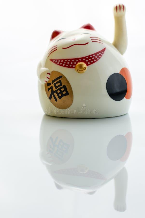 Gato da fortuna isolado no fundo branco imagens de stock