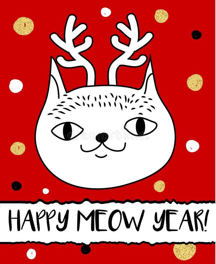 Gato da garatuja na faixa dos chifres dos cervos do Natal Cartão moderno, molde do projeto do inseto Cartão sazonal do ano novo d ilustração do vetor