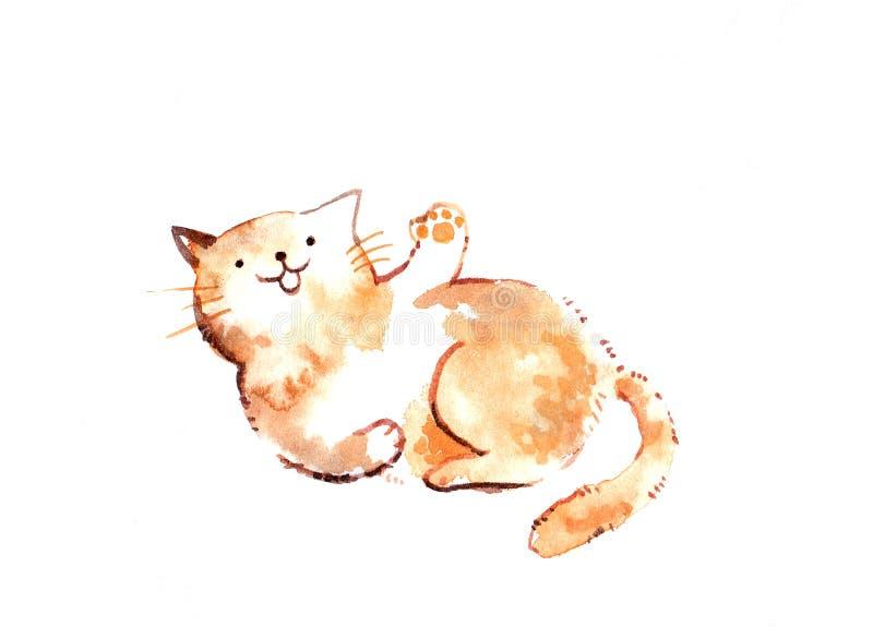 Gato da ilustração da aquarela dos desenhos animados de Brown que acena sua pata com co ilustração royalty free