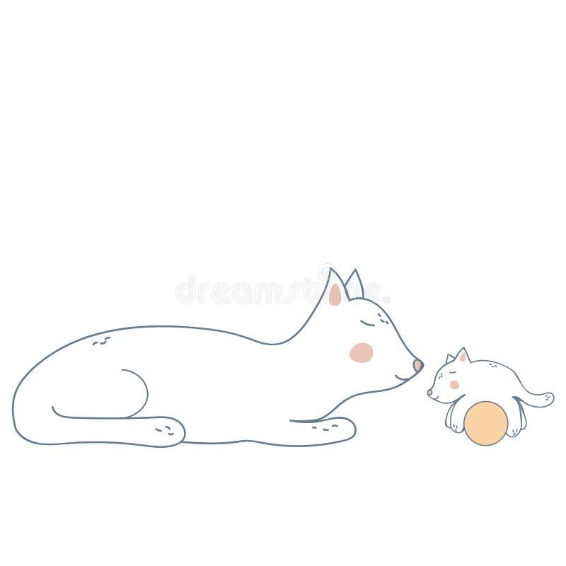 Gato da matriz com gatinho ilustração do vetor