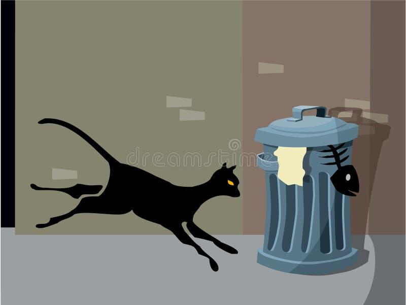 Gato da noite ilustração royalty free
