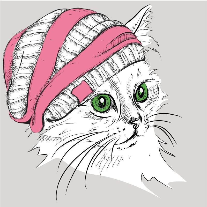 Gato da tração da mão em um chapéu Ilustração do vetor ilustração royalty free