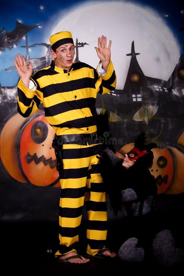 Gato Dalton dos pares de Halloween foto de stock royalty free