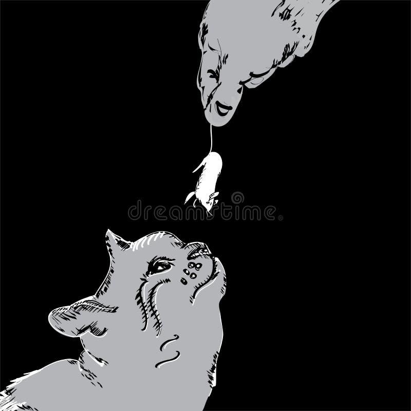 Gato de alimentación del hombre ilustración del vector