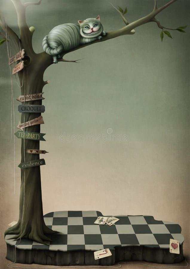Gato de Cheshire del cartel de la fantasía ilustración del vector