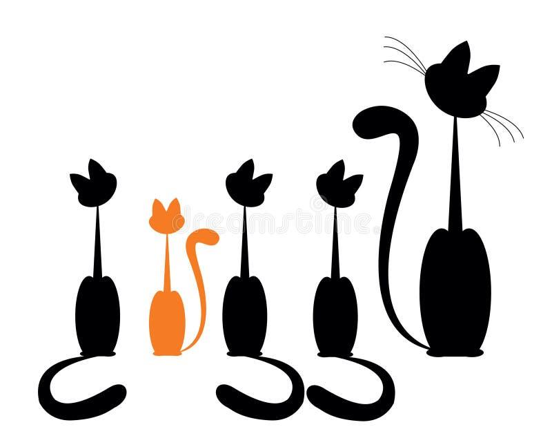 Gato de família ilustração do vetor