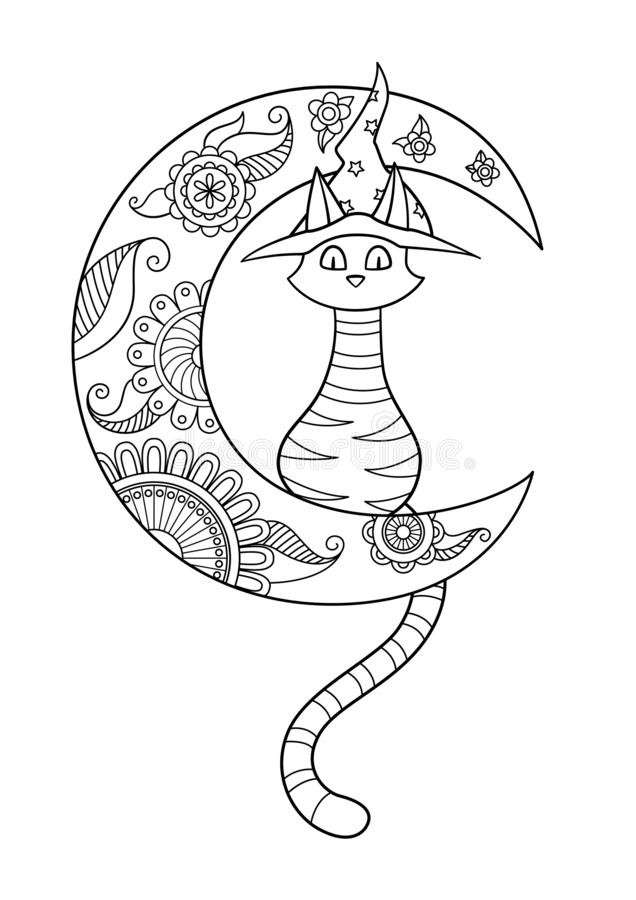 Gato de Halloween en página del libro de colorear del garabato del sombrero stock de ilustración