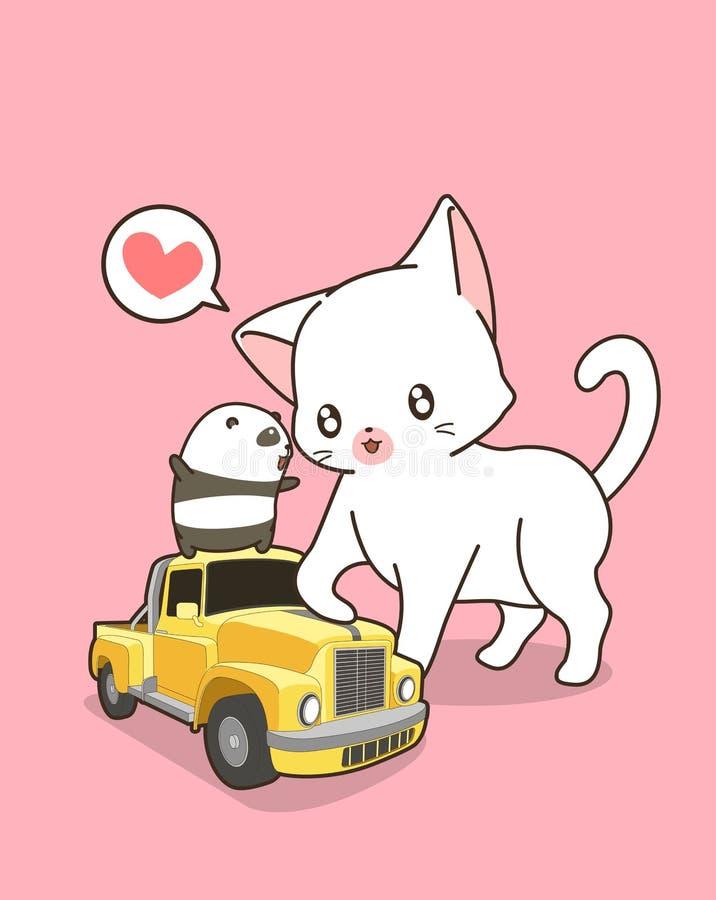 Gato de Kawaii com o carro amarelo pequeno ilustração royalty free