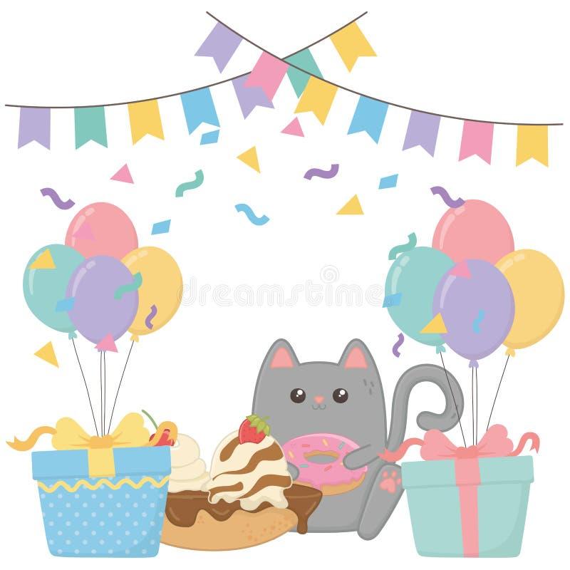 Gato de Kawaii con diseño de la torta del feliz cumpleaños stock de ilustración