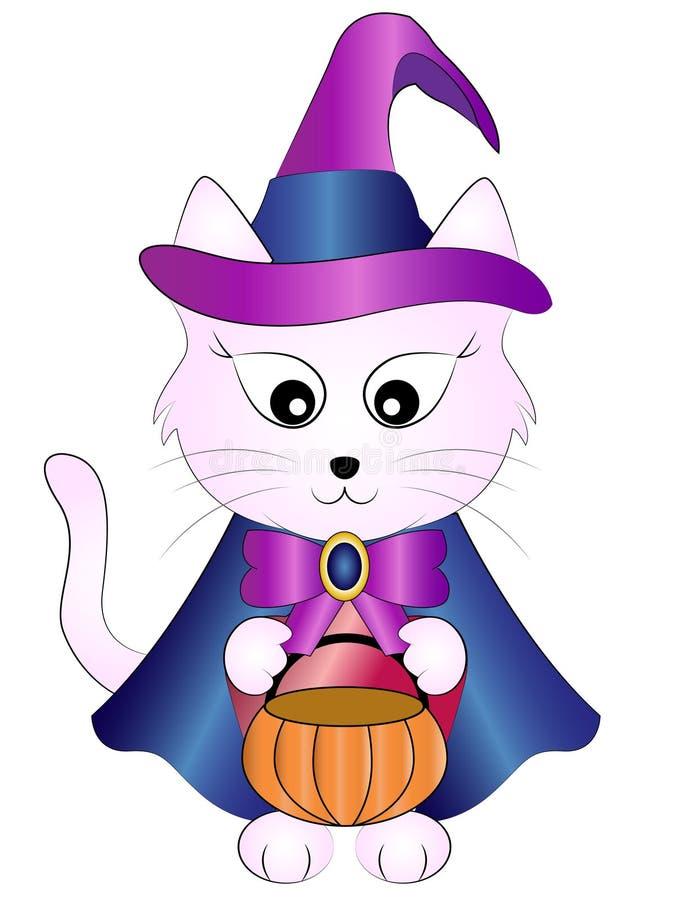 Gato de la bruja de Halloween de la historieta del vector ilustración del vector