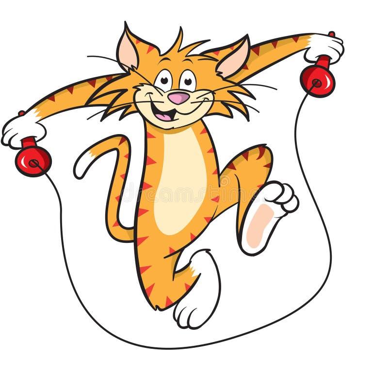 Gato de la historieta con la cuerda que salta ilustración del vector