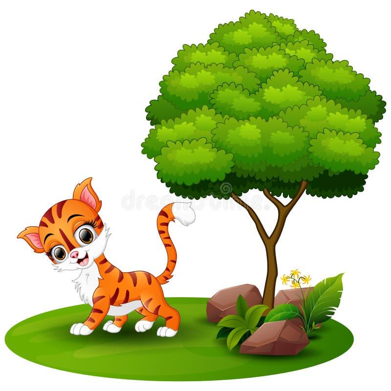 Gato de la historieta debajo de un árbol en un fondo blanco ilustración del vector