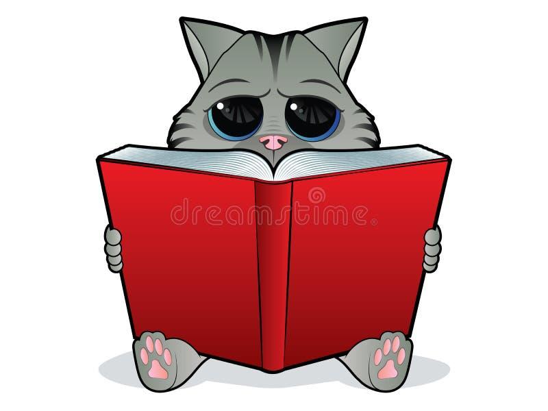 Gato de la lectura del libro stock de ilustración