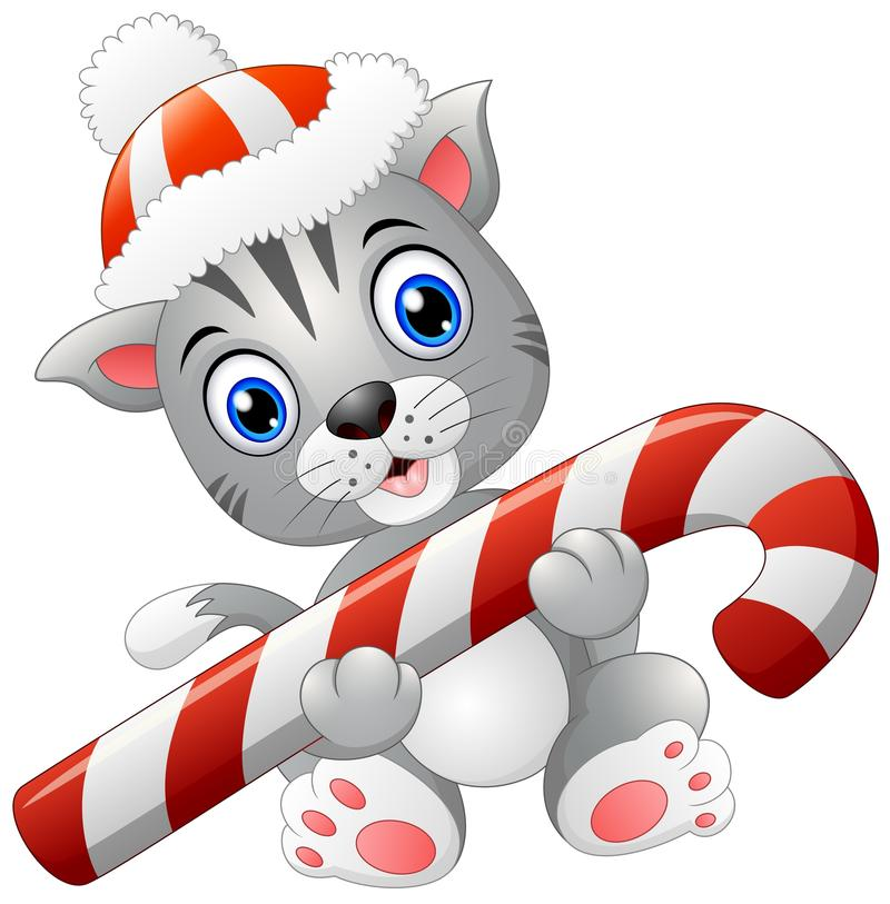 Gato de la Navidad con el bastón de caramelo ilustración del vector