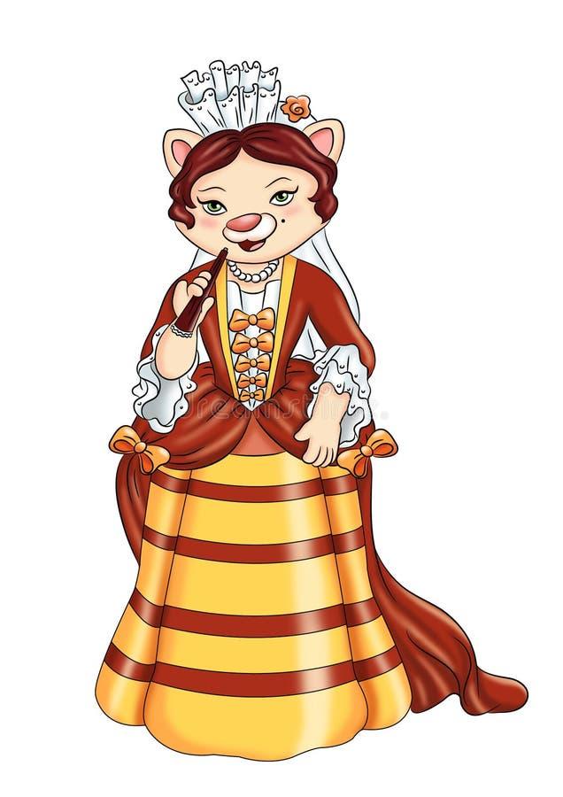 Gato de la señora stock de ilustración