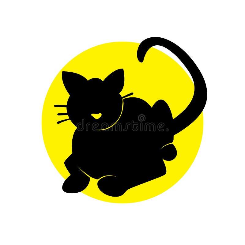 Gato de la silueta en c?rculo amarillo stock de ilustración