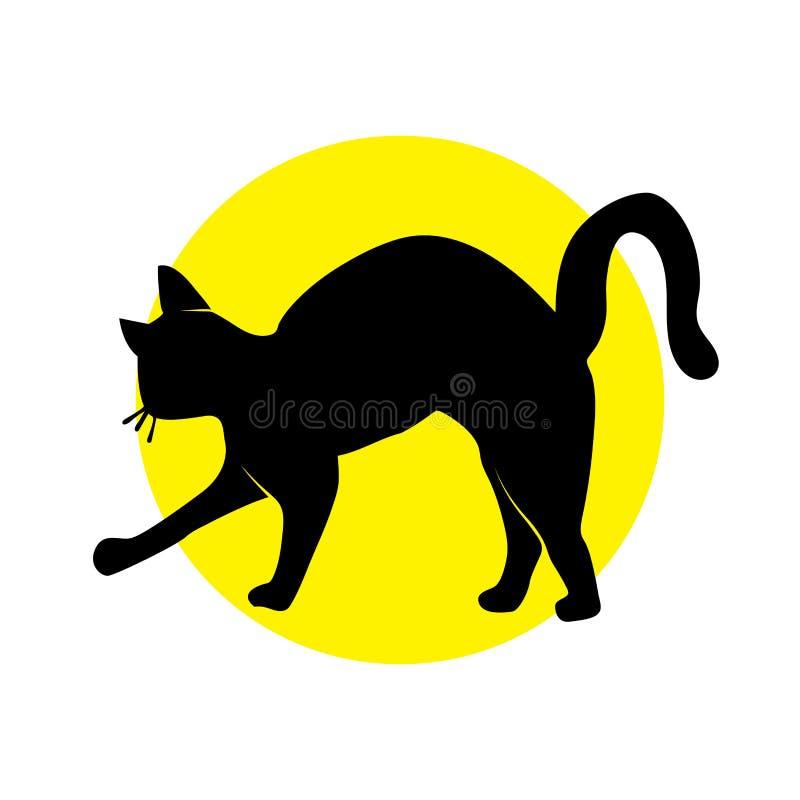 Gato de la silueta en c?rculo amarillo ilustración del vector