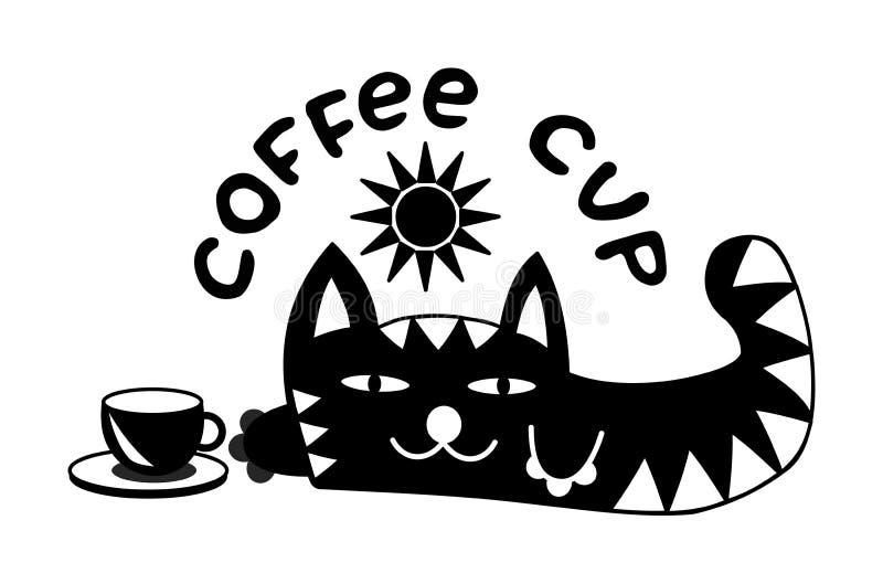 Gato de mentira divertido de la historieta debajo del sol Con una taza de café y de la inscripción - taza de café Rebecca 36 libre illustration