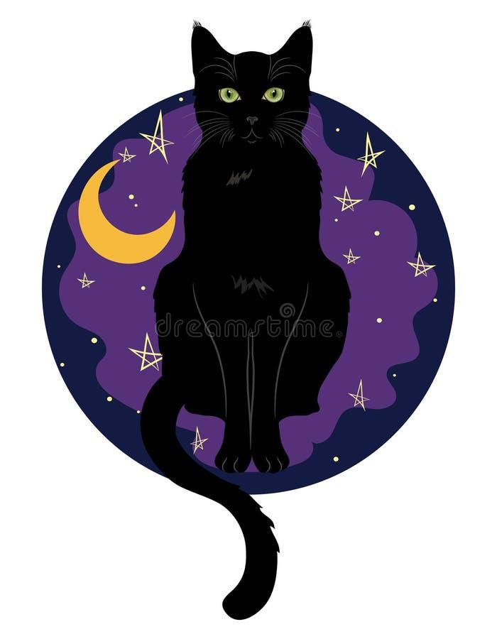 Gato de olhos verdes preto que senta-se em um fundo do céu noturno com lua e estrelas ilustração stock