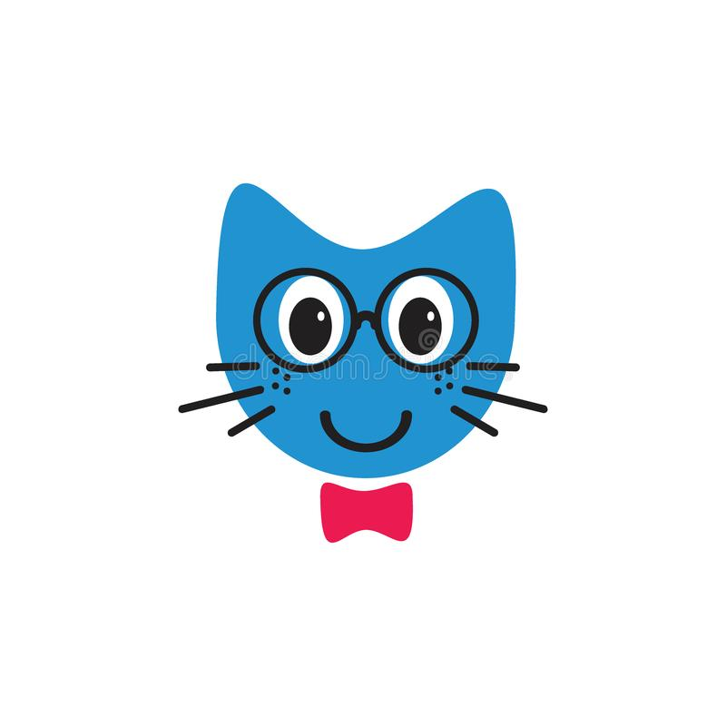 Gato de sorriso com conceito do logotipo das ilustrações do emoticon dos vidros ilustração stock