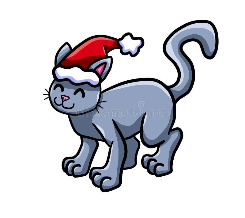 Gato de vista adorável do Natal feliz ilustração stock