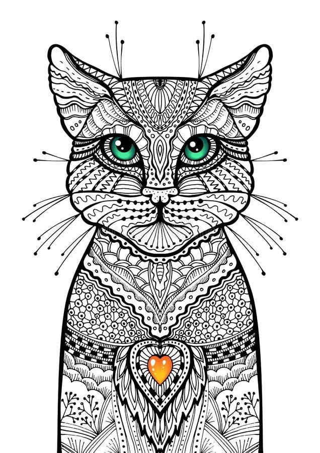 Gato de Zentangle com os olhos verdes lustrosos e coração vermelho da vela ilustração decorativa tirada mão Esboço tribal da gara ilustração stock