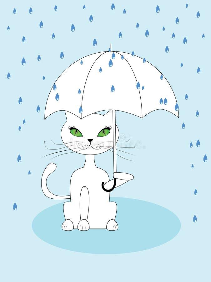 Gato debajo de la lluvia libre illustration