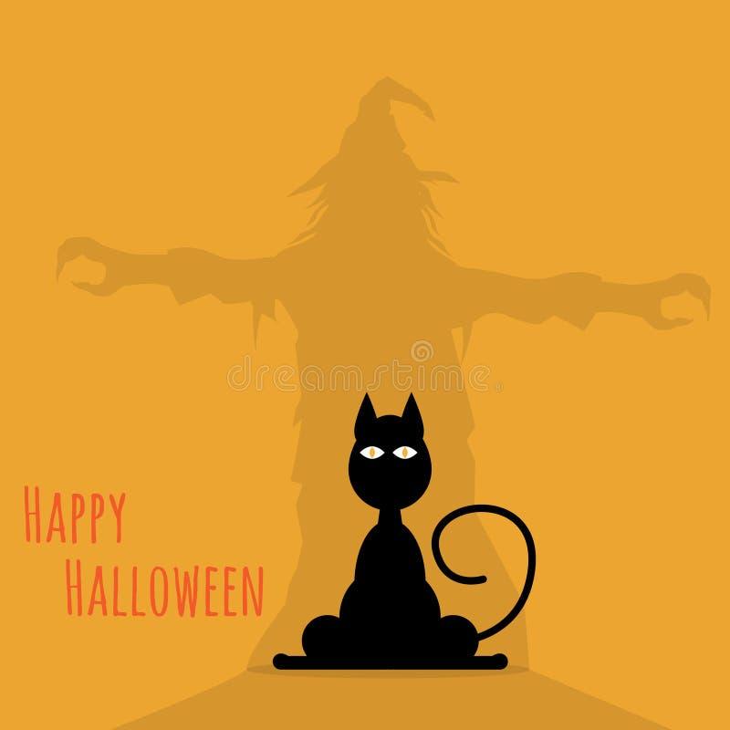Gato del feliz Halloween con la sombra de la bruja stock de ilustración