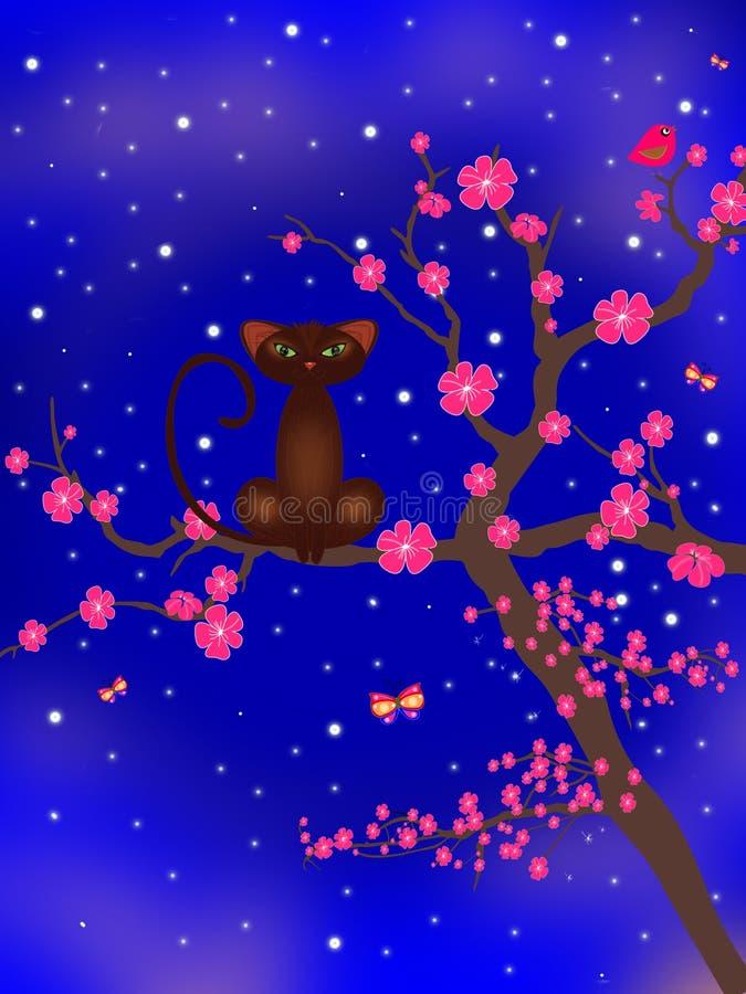 Gato del flor del árbol foto de archivo libre de regalías
