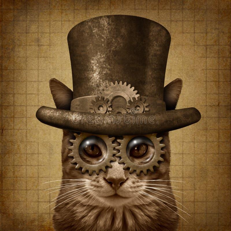 Gato del Grunge de Steampunk stock de ilustración