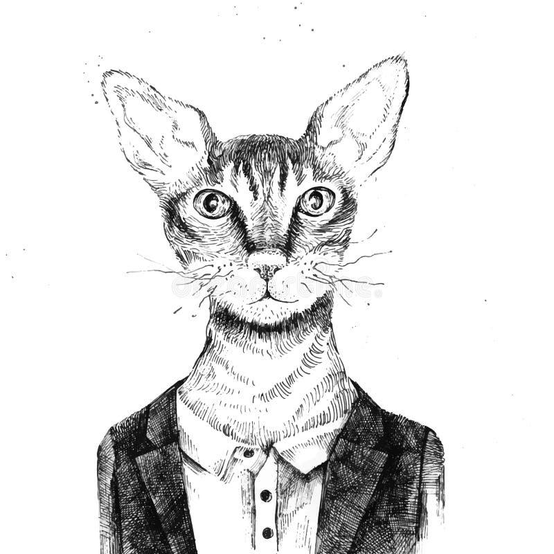 Gato del inconformista vestido para arriba en estilo urbano ilustración del vector