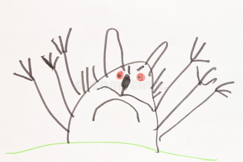 Gato del monstruo - dibujo de la pluma del fieltro del niño fotografía de archivo