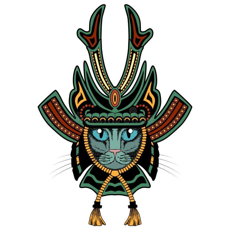 Gato Del Samurai Versión Coloreada Ilustración del Vector ...