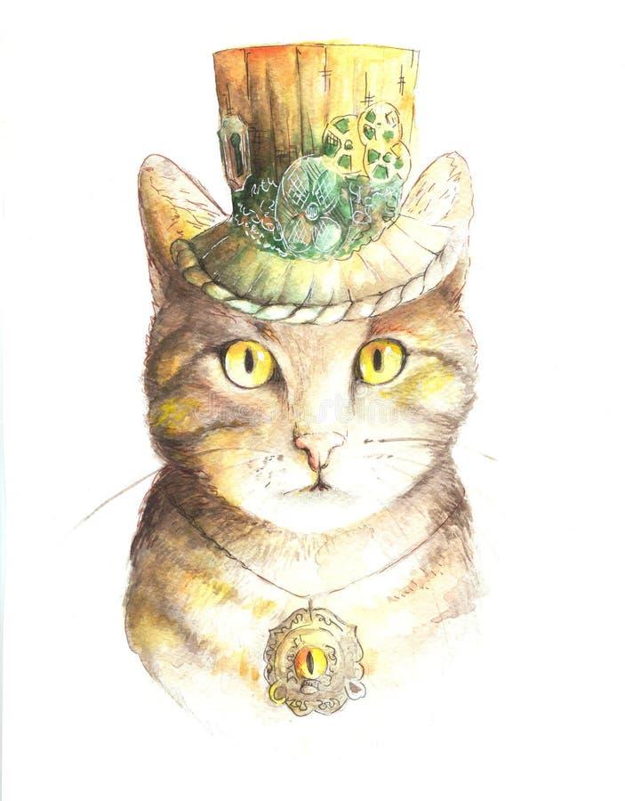 Gato del steampunk de la acuarela stock de ilustración