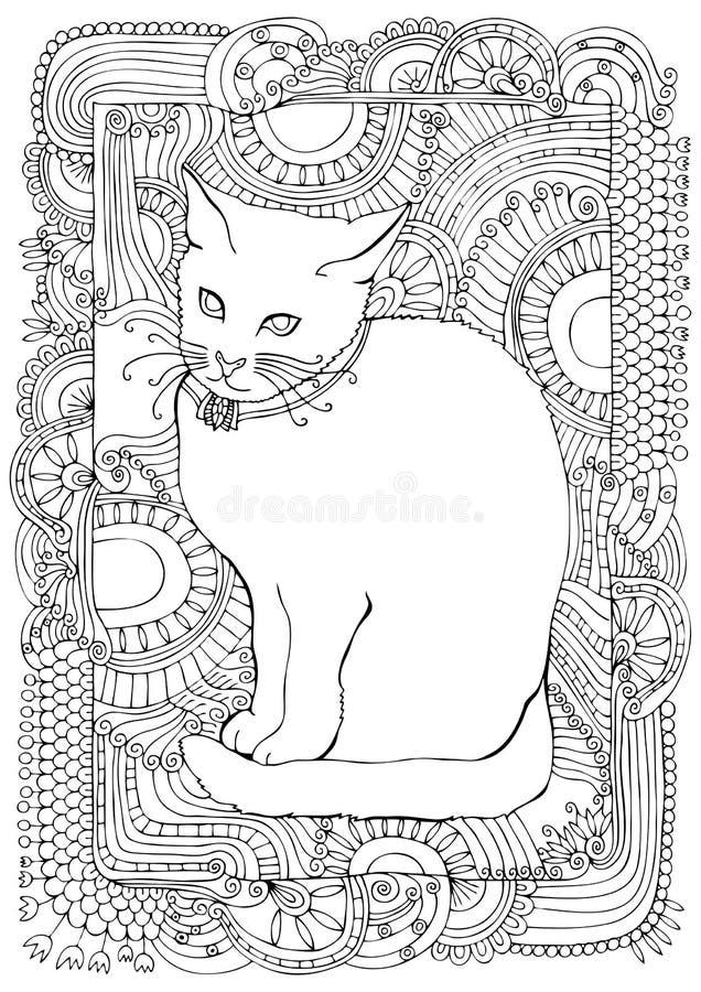 Gato desenhado mão Esboço para a página da coloração do anti-esforço fotografia de stock