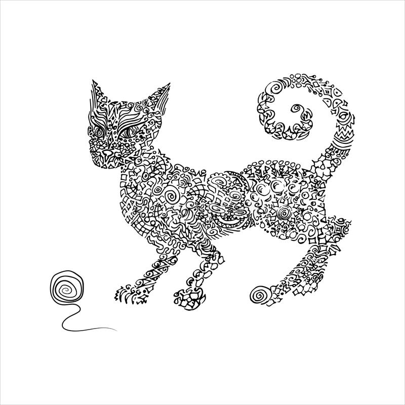 Gato dibujado mano del ornamento fotografía de archivo libre de regalías