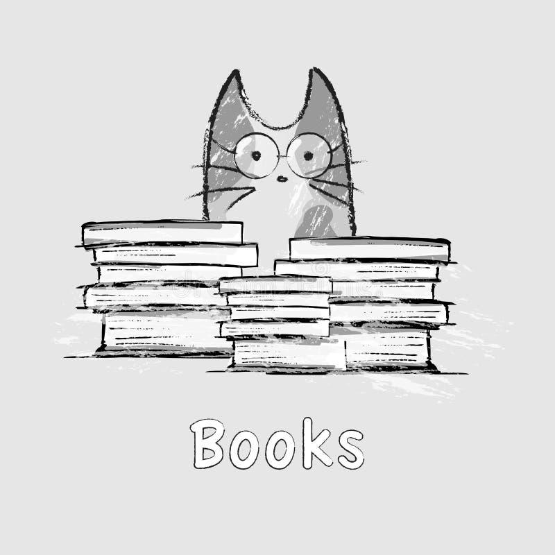 Gato dibujado mano, vidrios, libros libre illustration