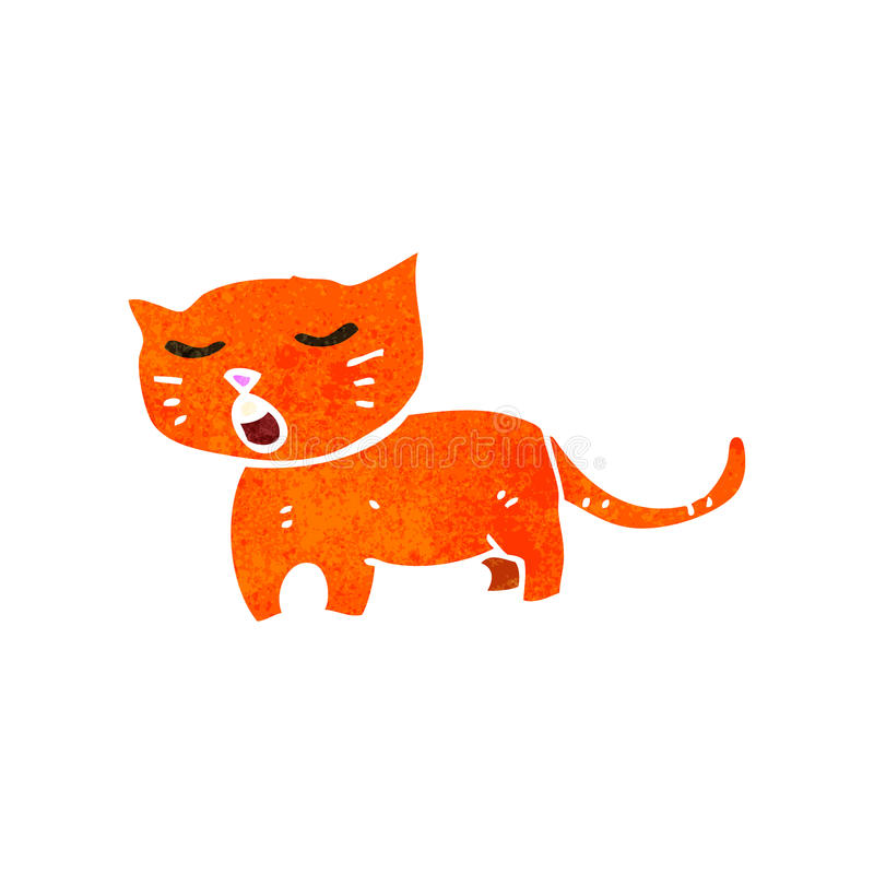 gato divertido del jengibre de la historieta retra stock de ilustración