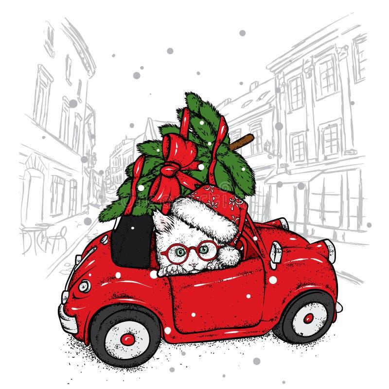 Gato divertido en un coche retro con un árbol de navidad en el tejado Ilustración del vector ` S del Año Nuevo y la Navidad Gatit libre illustration