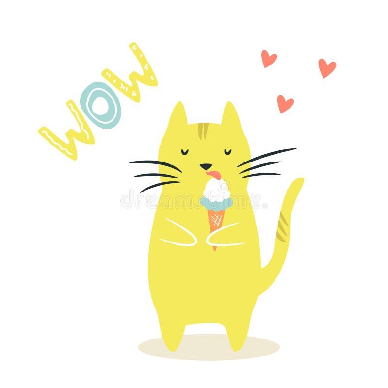 Gato divertido que come el hielo crema Ilustraci?n divertida stock de ilustración