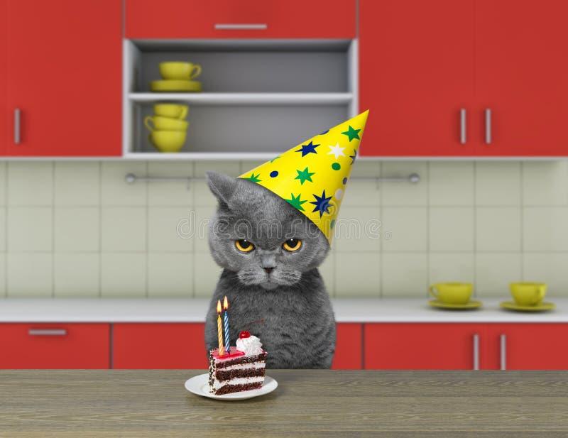Gato divertido que espera para comer la torta de chocolate ilustración del vector