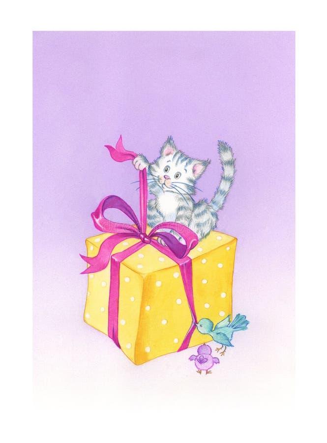 Gato do aniversário ilustração royalty free
