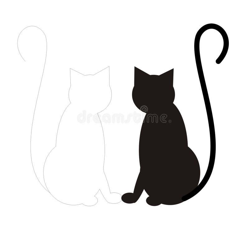 Gato do branco do gato preto ilustração stock