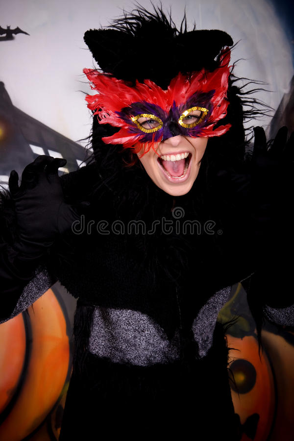 Gato do caráter de Halloween imagem de stock royalty free
